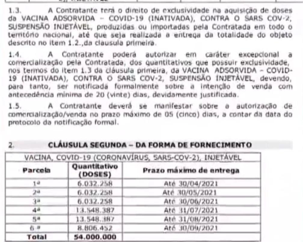 Trecho de contrato entre Ministério da Saúde e Butantan para aquisição de 54 milhões de doses da CoronaVac  — Foto: Reprodução