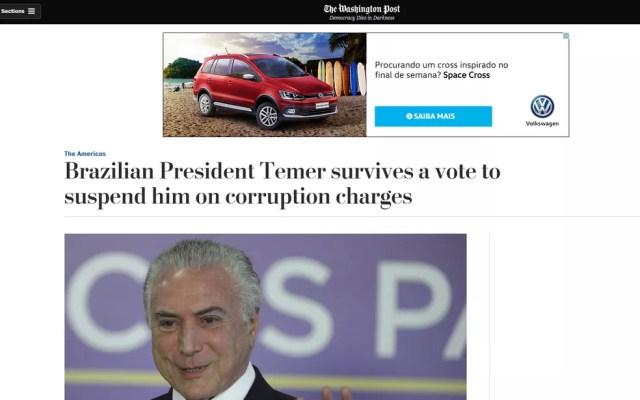 Votação foi noticiada pelo 'Washington Post' (Foto: Reprodução/Washington Post)