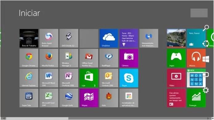 O menu de Configurações fica à direita no Iniciar. Mova o mouse até o canto para encontrá-lo (Foto: Reprodução/Pedro Zambarda)
