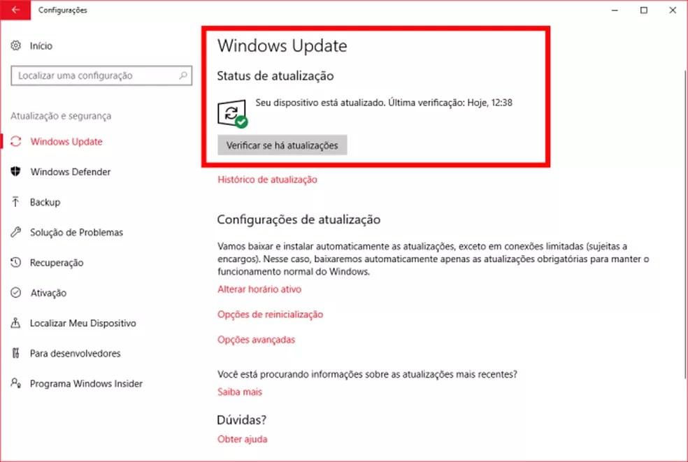 Verificando se há atualizações pendentes no Windows Update (Foto: (Felipe Alencar/TechTudo))