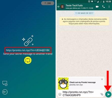 Compartilhe fotos, vídeos e textos via link no WhatsApp no Pronto! Mensagens secretas (Foto: Reprodução/Paulo Alves)