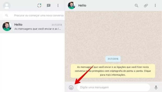 Acessando as figurinhas do WhatsApp — Foto: Reprodução/Helito Beggiora