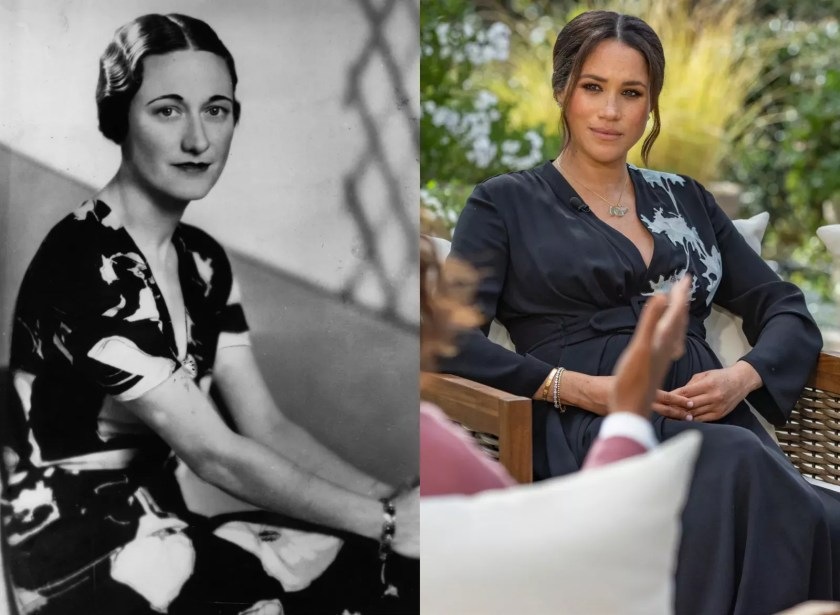 Wallis Simpson in 1936, pictured a week before King Edward VIII abdicated; Meghan Markle in 2021 (Photo: Getty Images; Joe Pugliese / Harpo Productions)