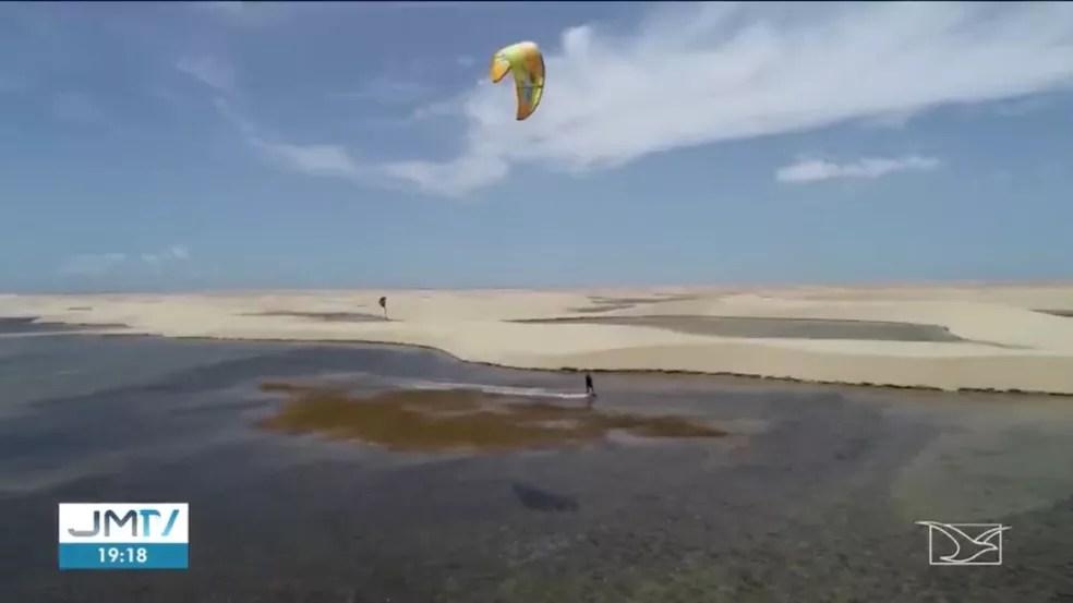 Região disputada é boa para a prática de kitesurf e para a construção de um parque eólico. — Foto: Reprodução/TV Mirante