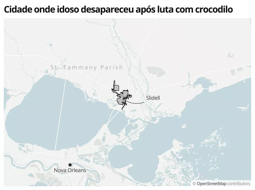 Mapa mostra onde aconteceu incidente com o jacaré — Foto:  G1