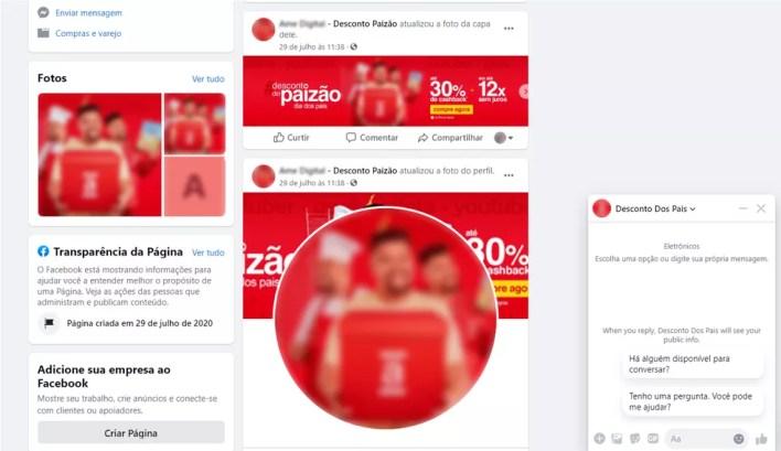 Golpe usa indevidamente a marca das Lojas Americanas e do ator Babu Santana para enganar usuários no Facebook — Foto: Reprodução/dfndr lab
