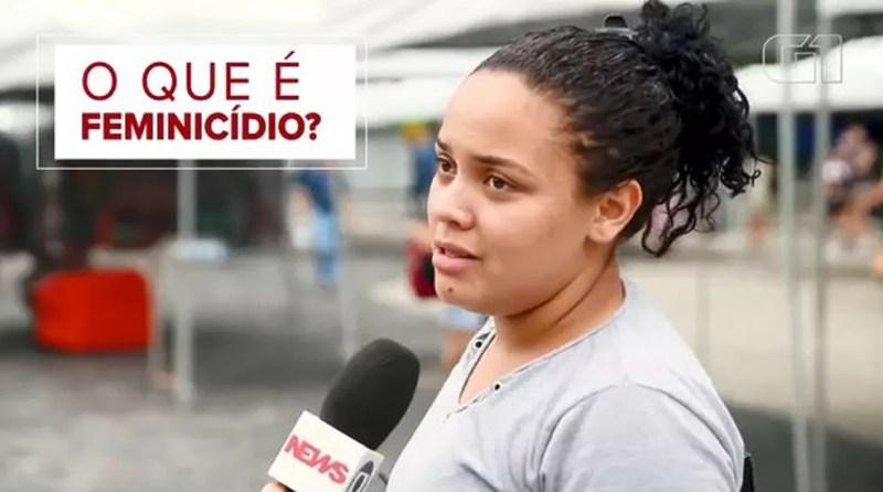 O G1 foi às ruas perguntar para as pessoas questões sobre o crime de feminicídio — Foto: Reprodução/G1