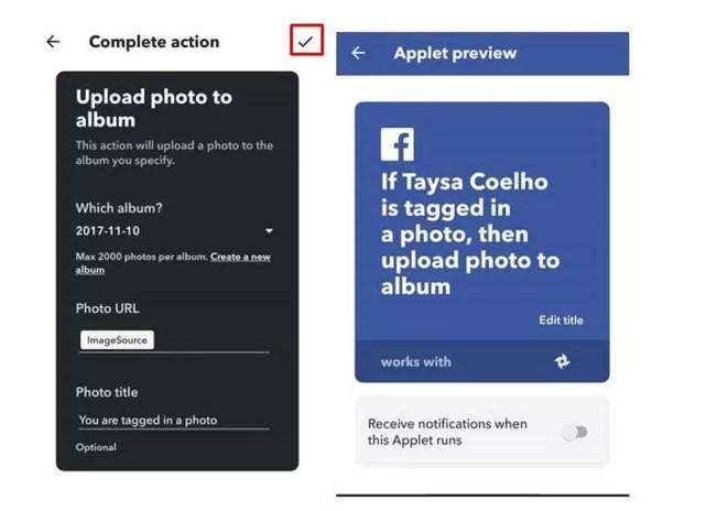 Clique sobre o ícone de check do IFTTT (Foto: Reprodução/Taysa Coelho)