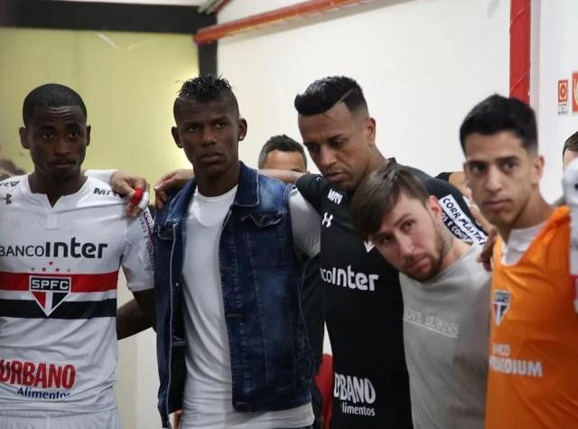 Denilson, Arboleda, Sidão e Jonatan Gómez: reforços integrados no São Paulo (Foto: Rubens Chiri / saopaulofc.net)
