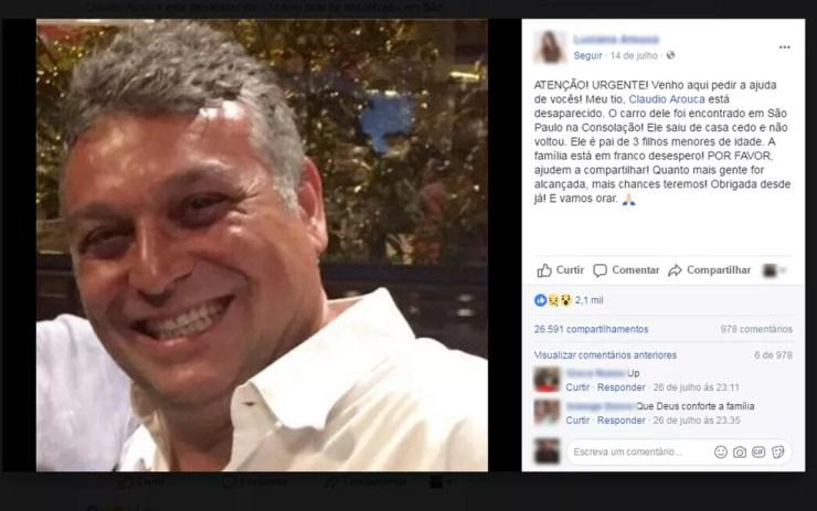 Quando Claudio estava desaparecido, parentes fizeram apelo por informações sobre ele no Facebook. (Foto: Reprodução/Facebook)