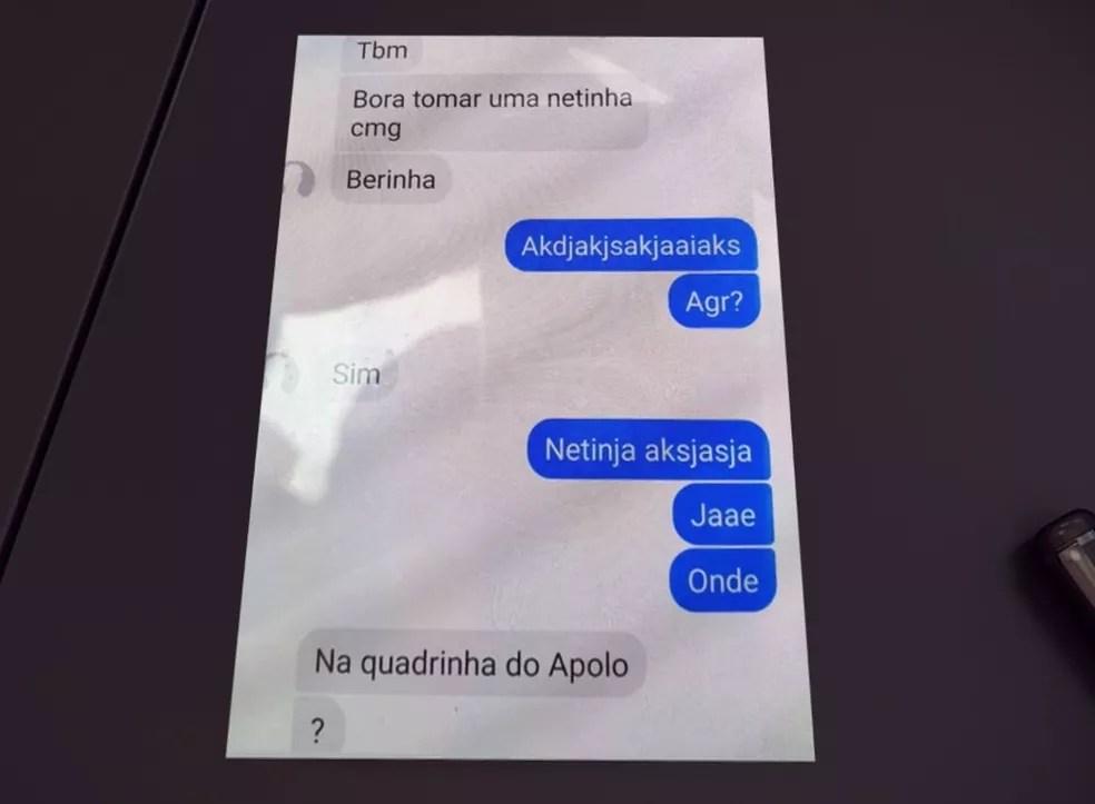 Mensagens no celular de Layane Silva mostram a vítima marcando de se encontrar com o suspeito do crime — Foto: Reprodução/RPC