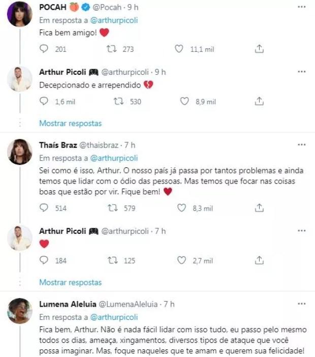 Arthur Picoli, do BBB21, recebe apoio de ex-sisters (Foto: Reprodução / Twitter)