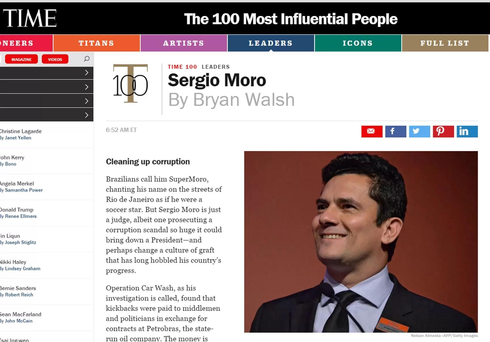 Site da revista 'Time'  com o juiz Sérgio Moro (Foto: Reprodução/Time Magazine)