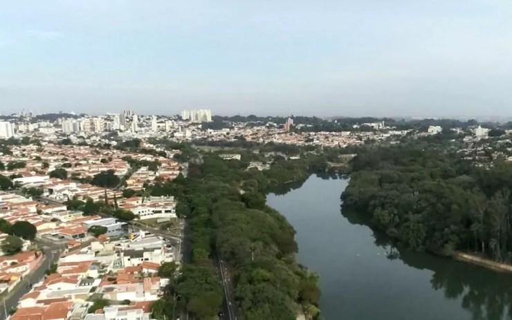 06/05: Vista da cidade de Campinas em tempos de quarentena contra o novo coronavírus — Foto: Reprodução/EPTV