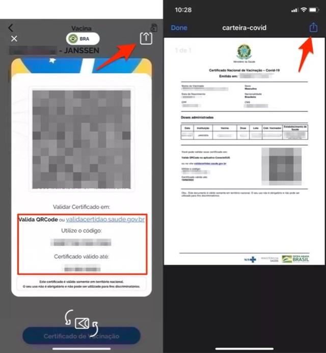 Ação para emitir o certificado de vacinação da Covid 19 no Conecte SUS app — Foto: Reprodução/Marvin Costa