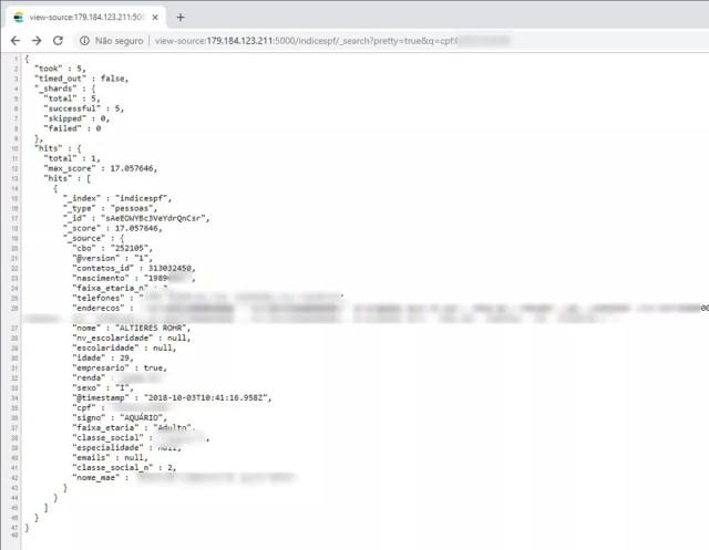 Consulta em banco de dados exposto na web retorna nome, endereço e telefones — Foto: Reprodução