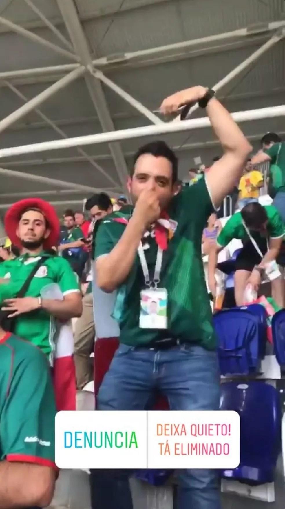 Raiam Santos postou vídeo que mostra mexicano fazendo gestos racistas (Foto: Reprodução/ Rede Social)