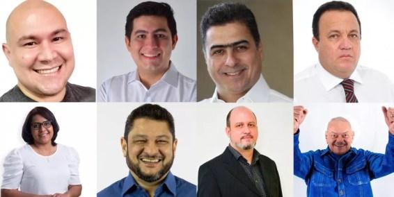 Candidatos disputam vaga de prefeito de Cuiabá — Foto: Montagem G1