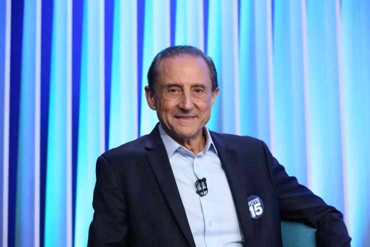 Paulo Skaf, candidato do MDB ao Governo de SP, durante debate no estúdio da Globo em São Paulo — Foto: Celso Tavares/G1