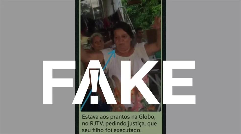 É #FAKE que vídeo mostre mãe de um dos mortos no Jacarezinho segurando e brincando com fuzil — Foto: Reprodução