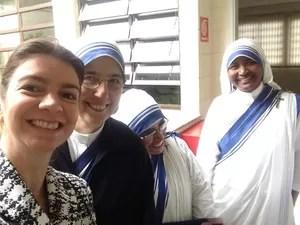 Medica Monica e as irmãs de caridade em Santos (Foto: Monica Mazzurana/Arquivo Pessoal)
