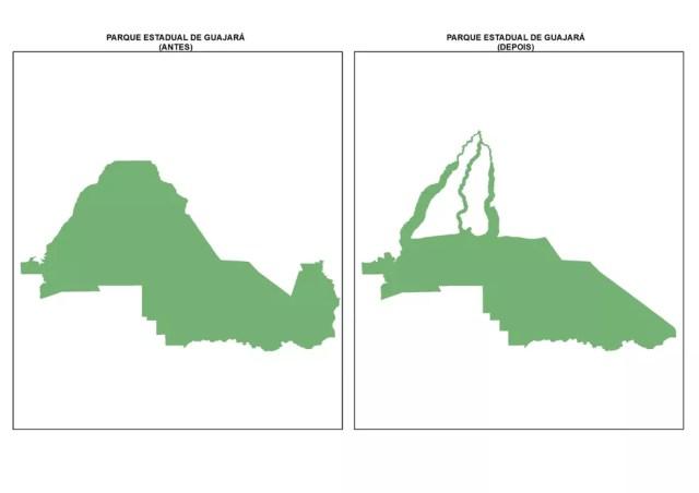 Parque Estadual Guajará-Mirim antes e depois da aprovação da Lei 1.089/21 — Foto: Ministério Público de Rondônia/Divulgação