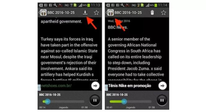 Opções para favoritar ou baixar notícias no aplicativo Ouvir Inglês (Foto: Reprodução/Marvin Costa)