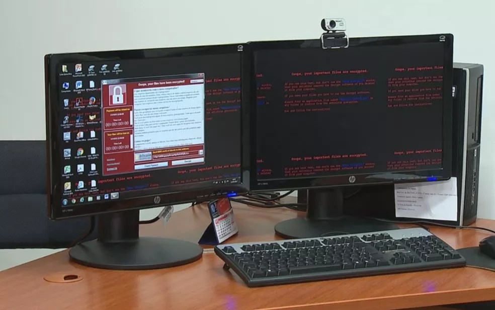 Computadores do MP sofreram também com o ciberataque (Foto: Reprodução/TV TEM)