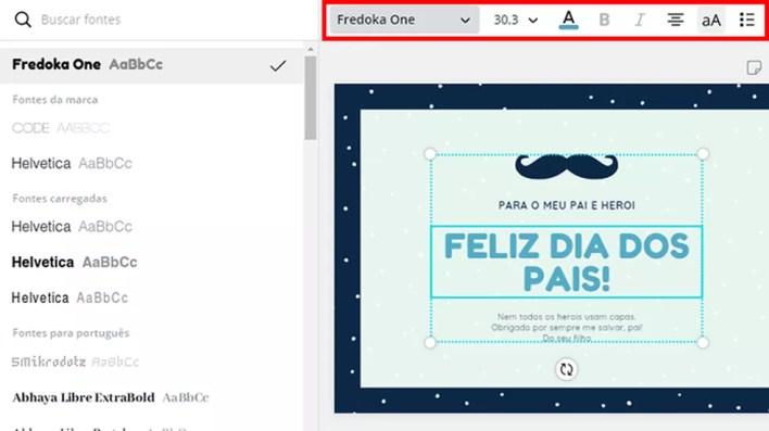 Personalize a fonte do texto de Dia dos Pais no Canva — Foto: Reprodução/Paulo Alves