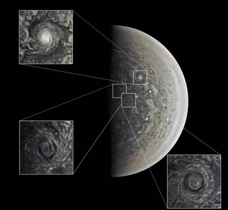 JunoCam registrou ciclones gigantes nos polos — Foto: NASA/SWRI/ROMAN TKACHENKO