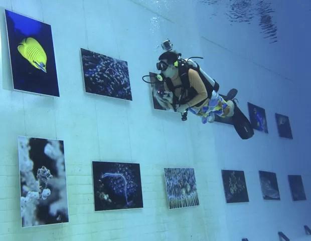 Exposição ocorreu em piscina em Pequim, na China (Foto: Kim Kyung-hoon/Reuters)