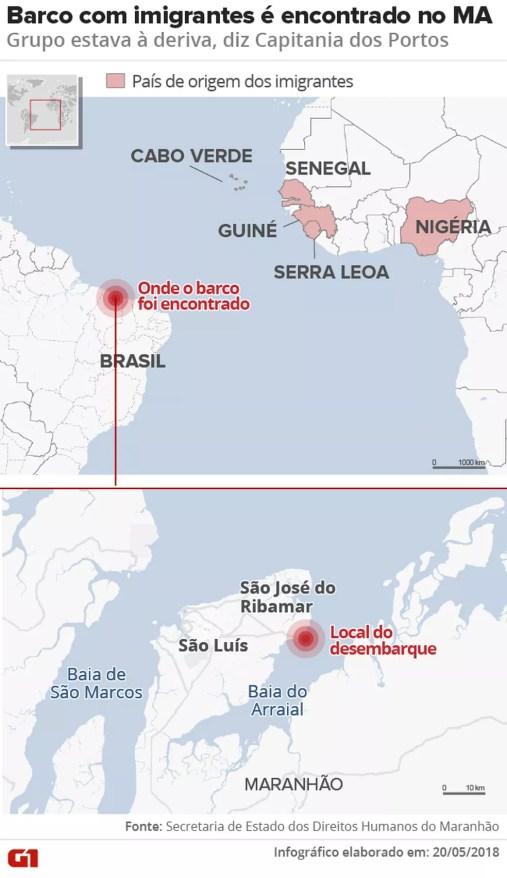 Barco à deriva com imigrantes foi encontrado no Maranhão (Foto: Roberta Jaworski/G1)