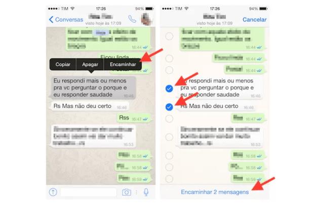 Utilizando a opção de encaminhamento de mensagens no WhatsApp para iPhone