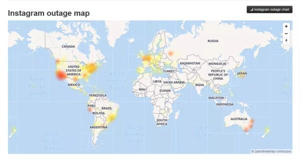 Diversas regiões do mundo têm reclamações sobre problemas no Instagram. — Foto: Reprodução/G1