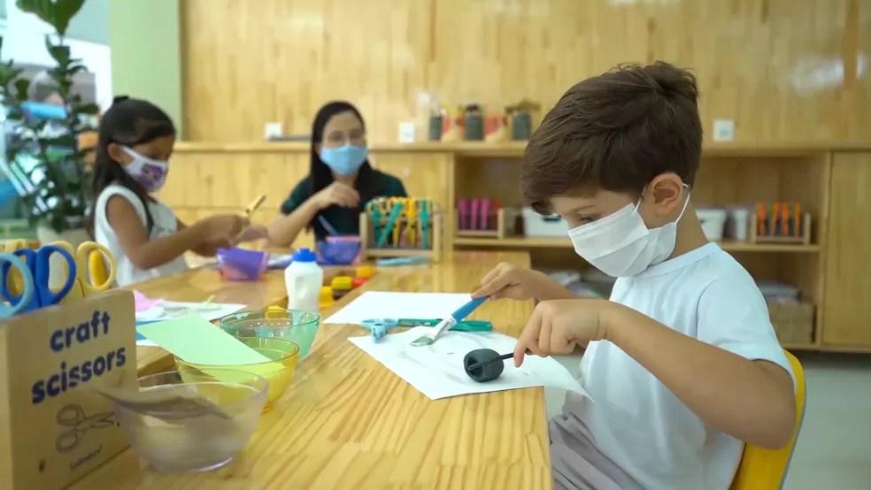 Uso de máscaras será obrigatório durante aulas presenciais em escolas da rede privada no Maranhão. — Foto: Divulgação/Escola Crescimento
