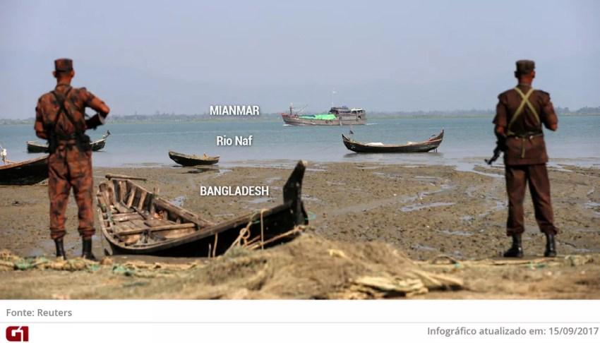 Foto do Rio Naf, na fronteira de Mianmar com Bangladesh (Foto: Arte/G1)