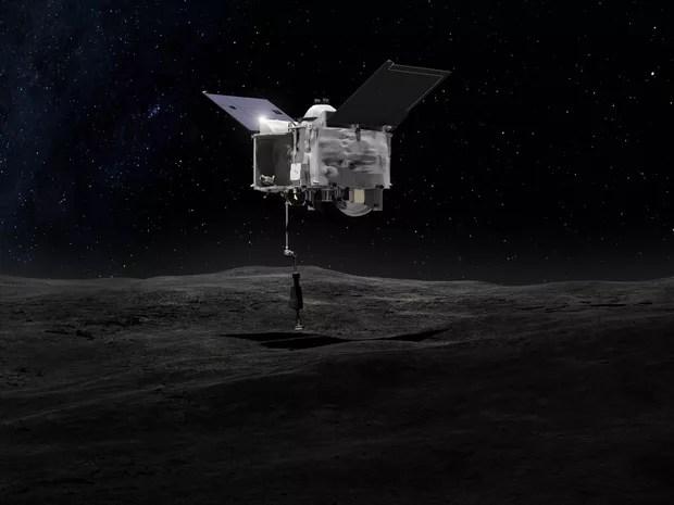Ilustração mostra Osiris-Rex coletando amostra de asteroide Bennu NASA's (Foto: NASA's Goddard Space Flight Center)