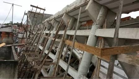 Obras do estádio de Diadema desabaram (Foto: Reprodução Twitter)