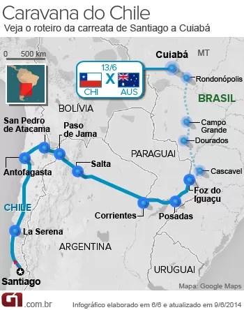 Mapa caminho do Chile Foz do Iguaçu