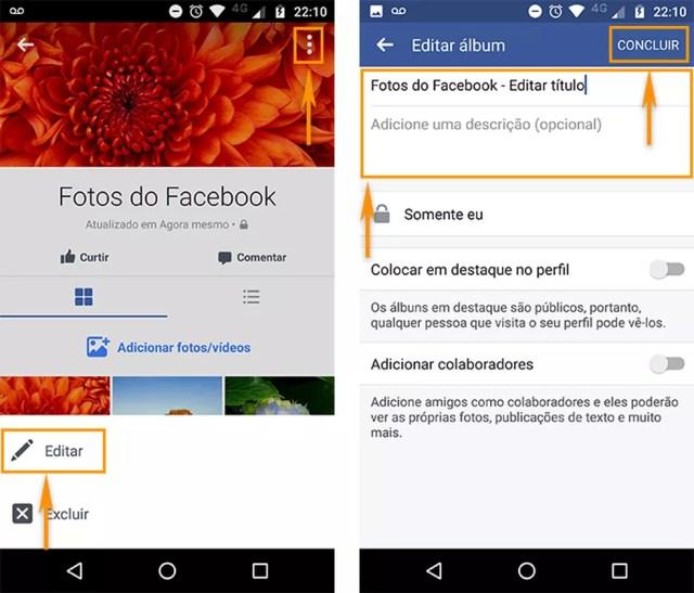Edite as informações do seu álbum do Facebook pelo Android (Foto: Reprodução/Barbara Mannara)