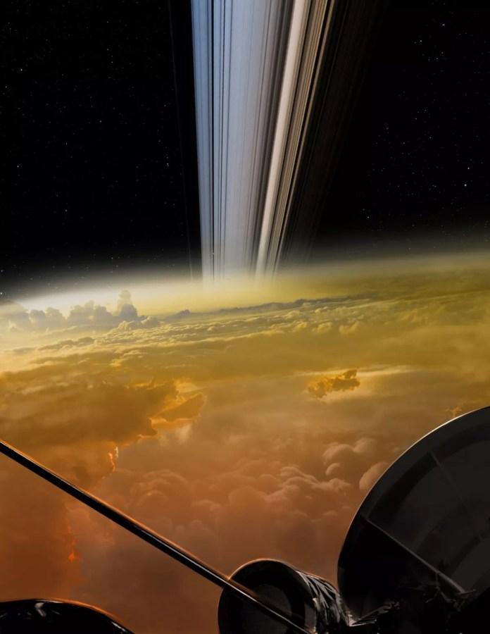 Representação artística do que Cassini pode ter visto durante seus últimos mergulhos nas nuvens de Saturno (Foto: NASA/JPL-Caltech)