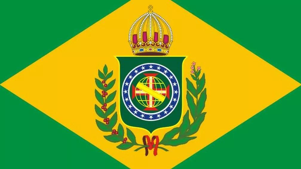 Bandeira do Brasil na época do Império — Foto: Reprodução/via BBC
