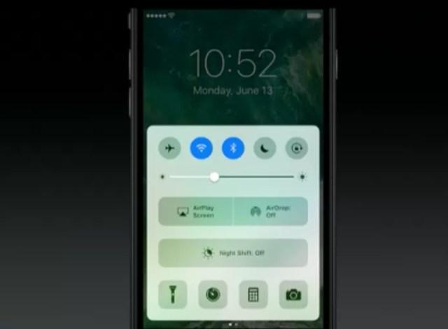 iOS 10 tem novo control center com interface renovada e espaço para música (Foto: Reprodução/Apple)