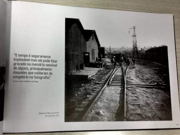 Detalhe do Pátio da Estrada de Ferro Madeira Mamoré, página do livro Revelando Porto Velho, de Luiz Brito (Foto: Luiz Brito/Divulgação)