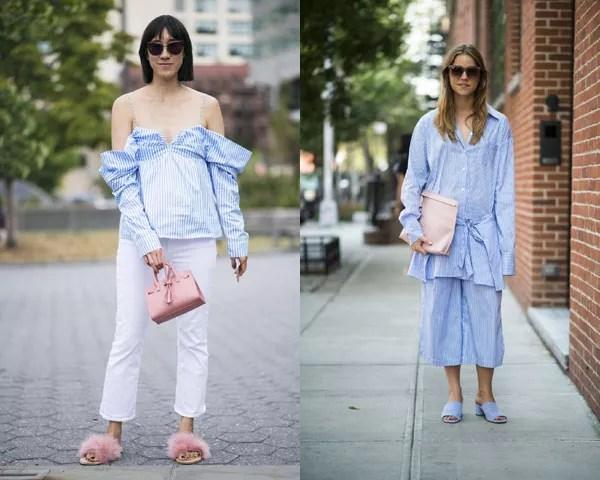 Combine a camisa listrada azul e branca com vários estilos (Foto: Imaxtree)
