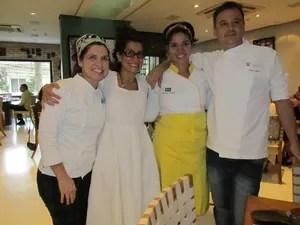 Grandes nomes da culinária durante apresentação do menu em São Paulo (Foto: Catarina Costa/G1)