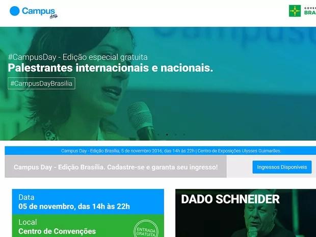 Página da Campus Day, que será realizada no dia 5 de novembro em Brasília (Foto: Reprodução)