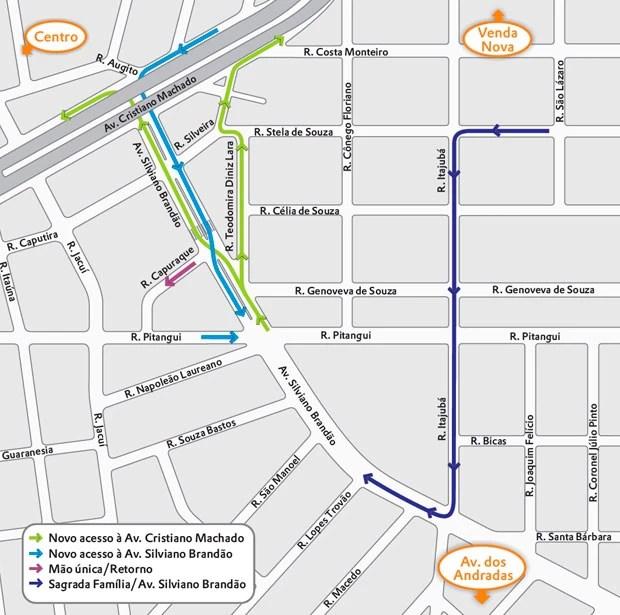 Mapa Avenida Silviano Brandão (Foto: Divulgação / BHTrans)