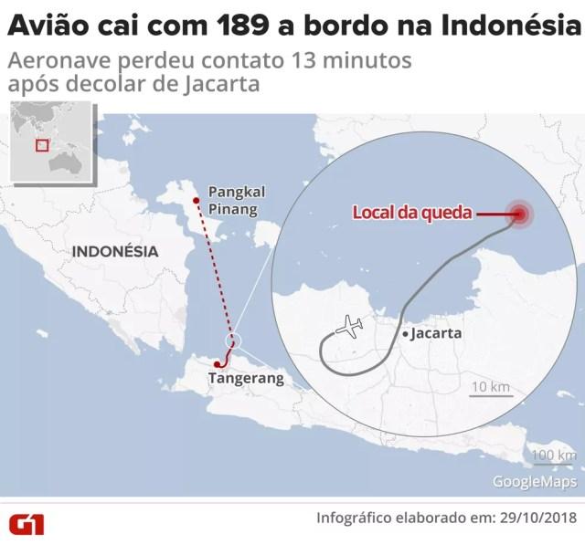 Queda de avião na Indonésia — Foto: Infografia: Igor Estrella/G1