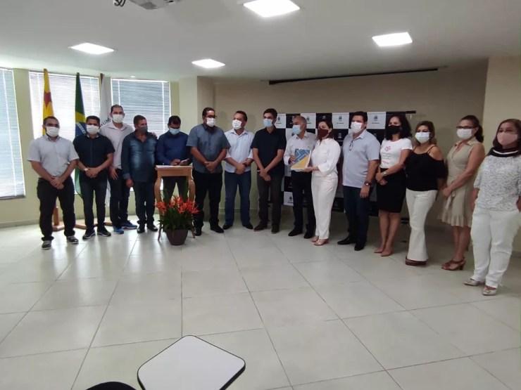 Equipes se encontraram para finalizar últimos ajustes da transição da gestão de Rio Branco — Foto: Quésia Melo/Rede Amazônica Acre